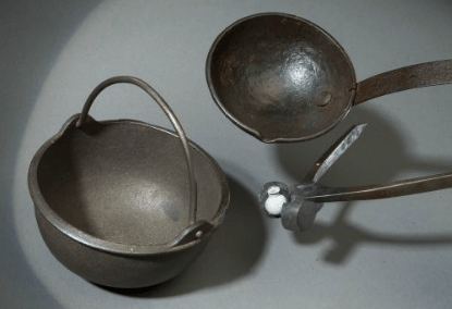 Bullet Mold, Ladle, and Iron Pot