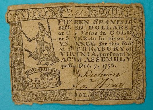 Virginia - 15 Dollar Bill (Note) - 1776