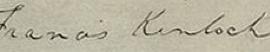 Francis Kinloch Signature