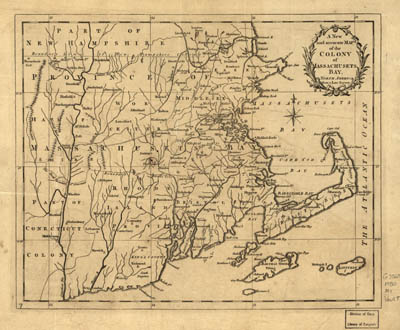 Map - 1780 – A New and Accurate Map of the Colony of Massachusetts Bay, in North America