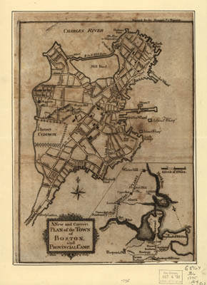 Map - 1775 – A New and Correct Plan of the Town of Boston and Provincial Camp
