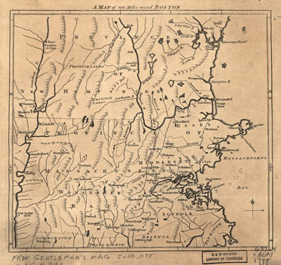 Map - 1775 – A Map of 100 Miles Round Boston