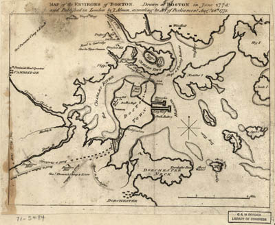 Map - 1775 – Map of the Environs of Boston, Drawn at Boston in June 1775