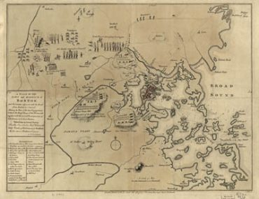 Map - 1775 – A Plan of the Town and Harbour of Boston and the Country Adjacent with the Road from Boston to Concord