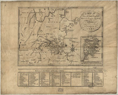 Map - 1775 – A Map of Forty Miles North, Thirty Miles West, and Twenty Five Miles South of Boston