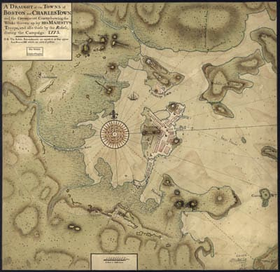 Map - 1775 – A Draft of he Towns of Boston and Charles Town and the Circumjacent County Showing the Works Thrown Up by His Majesty's Troops