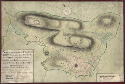 Map - 1775 – Plan of the Peninsula of Charles Town Showing the Three Posts that His Majesty's Troops Have Kept