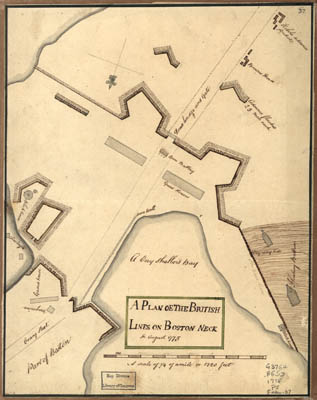 Map - 1775 – Plan of the British Lines on Boston Neck in August 1775