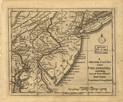 Map - 1776 – A Map of the Country Round Philadelphia Including Part of New Jersey, New York, Staten Island, and Long Island