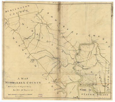 Map - 1781 – A Map of Middlesex County