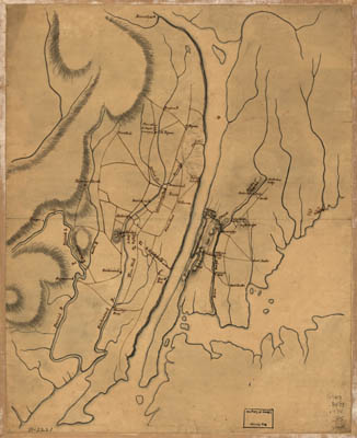 Map - 1776 – Plan of the Country at and in the Vicinity of Forts Lee and Independency, Showing the Position of the British Army