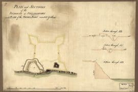 Map - 1777? – Plan and Sections of the Redoubt at Billingsfort and Plan of the Rebel Fort