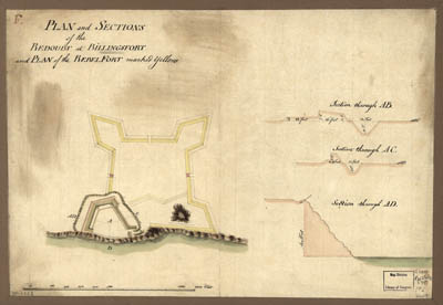 Map - 1777 – Plan and Sections of the Redoubt at Billingsfort and Plan of the Rebel Fort
