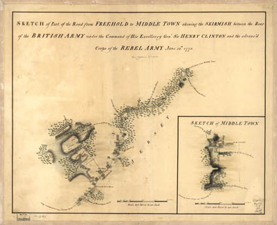 Map - 1778 – Sketch of Part of the Road from Freehold to Middle Town Showing the Skirmish