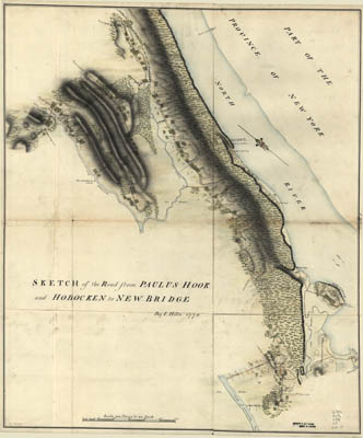 Map - 1778 – Sketch of the Road from Paulus Hook and Hoboken to New Bridge