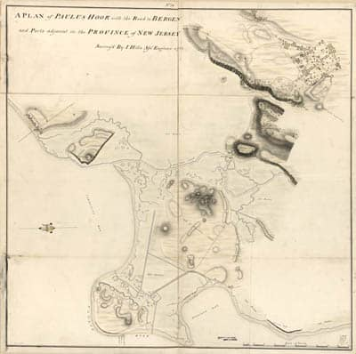 Map - 1781 – A Plan of Paulus Hook with the Road to Bergen and Parts Adjacent in the Province of New Jersey