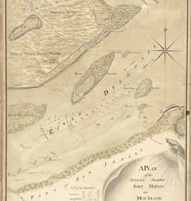 Map - 1777 – A Plan of the Attacks Against fort Mifflin on Mud Island