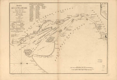 Map - 1777 – Baye de la Delaware avec les ports, sondes, dangers, bancs, etc.