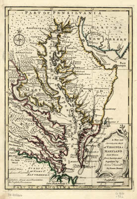 Map - 1752 – A New and Accurate Map of Virginia & Maryland