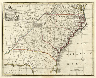 Map - 1752 – A New & Accurate Map of the Provinces of North & South Carolina, & Georgia, etc. Drawn from Late Surveys