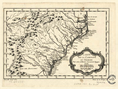 Map - 1780 – Carte de la Caroline et Georgie