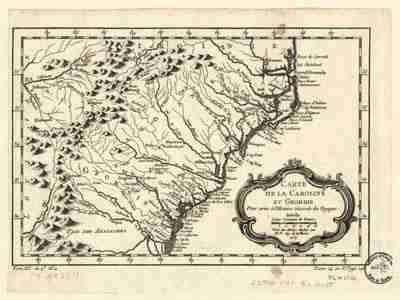 Map - 1780 – Carte de la Caroline et Georgie