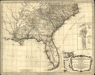 Map - 1776 – A General Map of the Southern British Colonies in America, Comprehending North and South Carolina