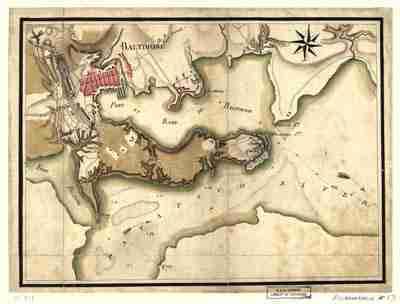 Map - 1781 – Ville, Port, et Rade de Baltimore dans le Maryland