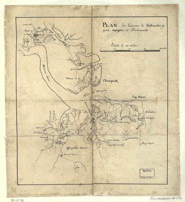 Map - 1781 – Plan des Environs de Williamsburg, York, Hampton, et Portsmouth