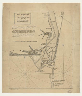 Map - A New and Exact Plan of Cape Fear River, from the Bar to Brunswick