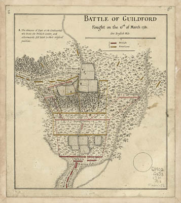 Map - 1781? – Battle of Guilford Fought on the 15 of March 1781