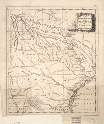 Map - 1779 – A New and Accurate Map of the Province of Georgia in North America
