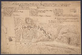 Map - 1755 – A Sketch of the Field of Battle with the Disposition of the Troops in the Beginning of the Engagement of the 9th of July on the Monongahela 7 Miles from Fort Du Quesne