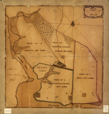 Map - 1766 – A Plan of my farm on Little Hunting Creek & Potomac River
