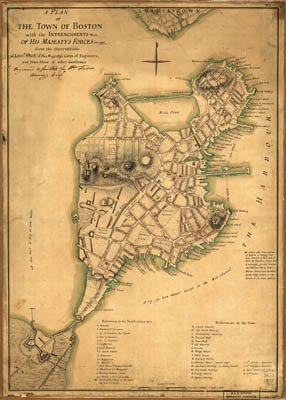 Map - 1777 – A plan of the town of Boston with the Entrenchments of His Majesty's Forces